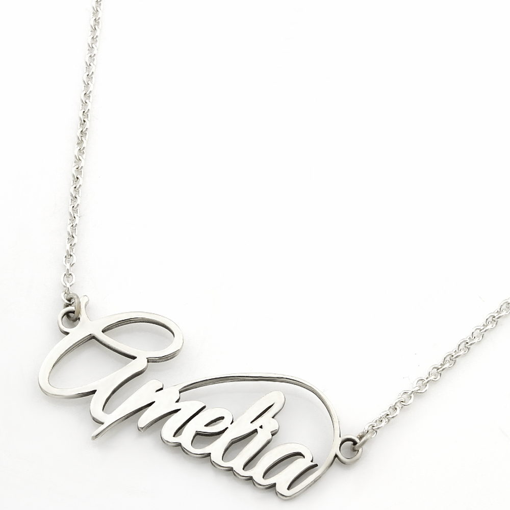 Name Necklace Infinity Detail Durban Silvery