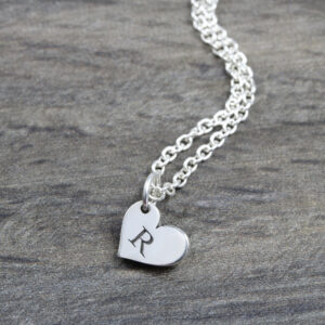 Personalised Necklace Initial Heart Necklace Silvery Jewellery Austarlia