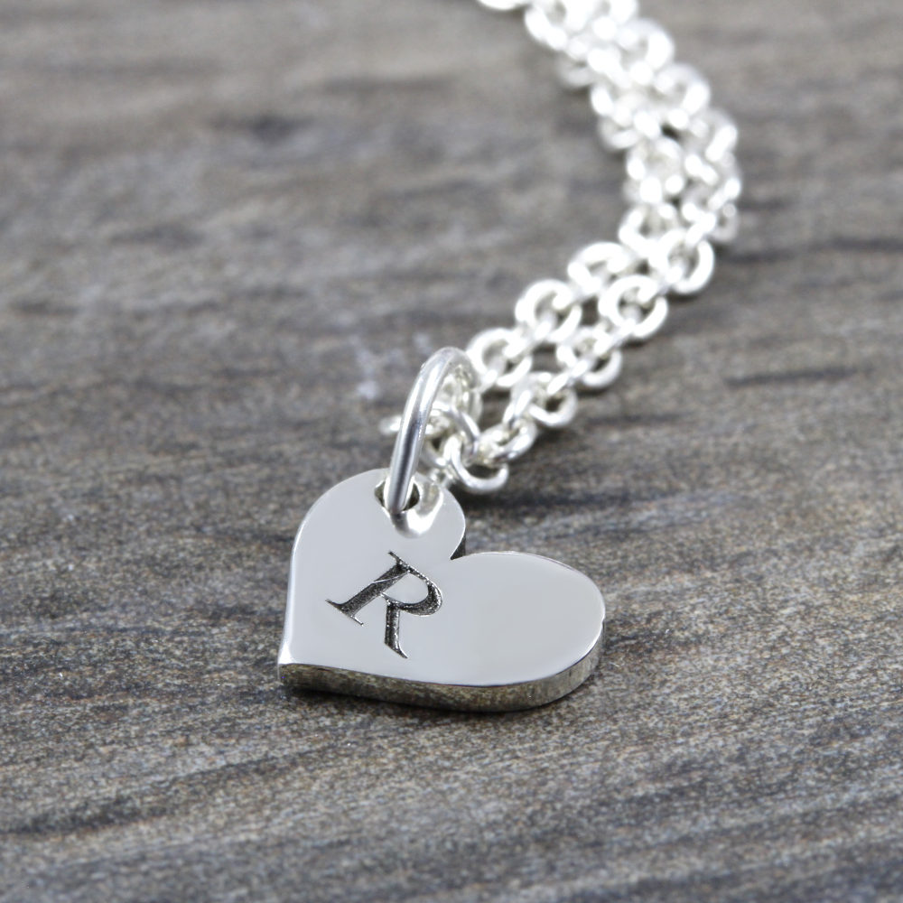 Custom Necklace Initial Heart Necklace Silvery Jewellery Australia