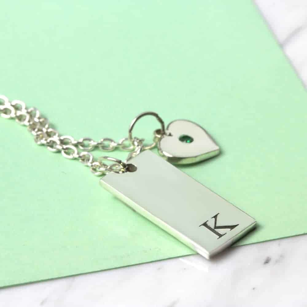 925 Sterling Silver Initial Tag & Birthstone Heart Necklace